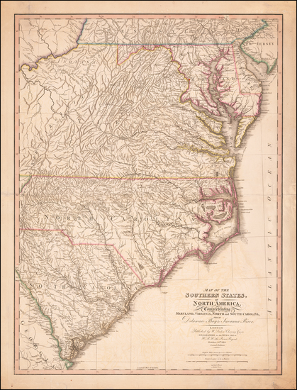 55-Maryland, Delaware, Southeast, Virginia, North Carolina and South Carolina Map By William Faden