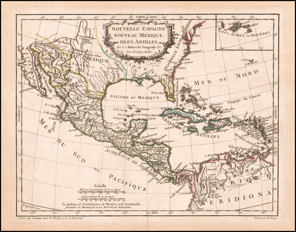 50-Southeast, Texas, Mexico and Caribbean Map By Didier Robert de Vaugondy