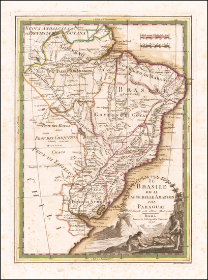 37-Brazil and Paraguay & Bolivia Map By Giovanni Maria Cassini
