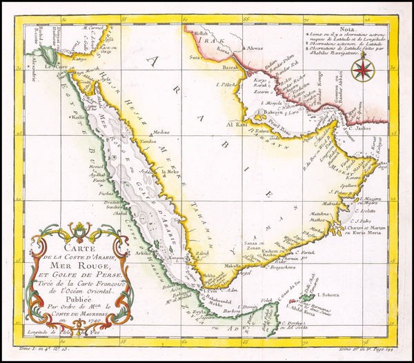 89-Middle East and Arabian Peninsula Map By Jacques Nicolas Bellin