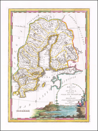 34-Sweden and Finland Map By Giovanni Maria Cassini