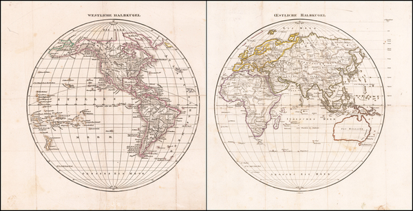 34-World, Eastern Hemisphere and Western Hemisphere Map By Anonymous