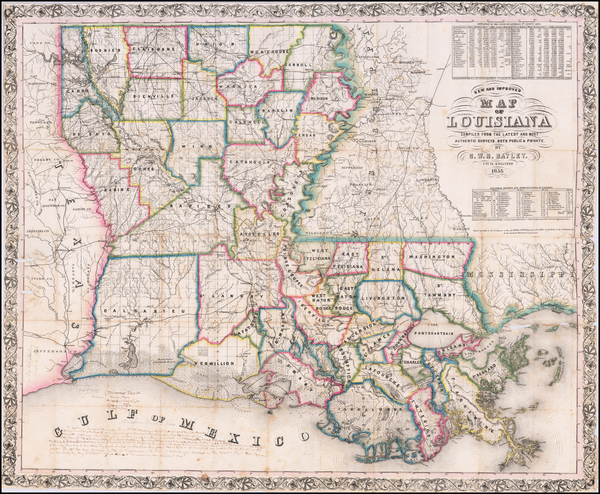 52-Louisiana and Mississippi Map By G. W. R. Bayley