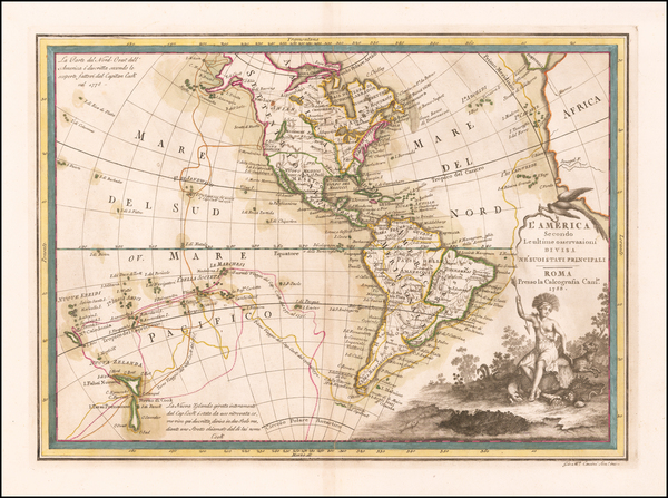 98-Pacific and America Map By Giovanni Maria Cassini