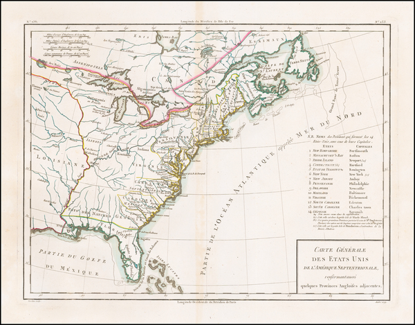 41-United States Map By Pierre Antoine Tardieu