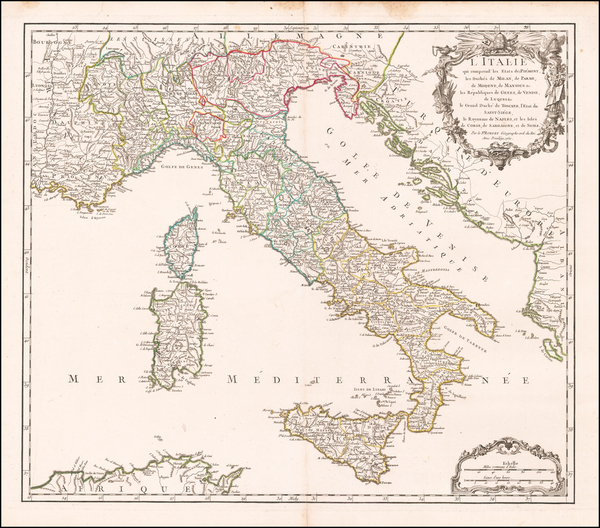 100-Italy Map By Didier Robert de Vaugondy