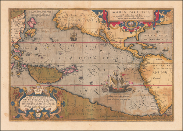66-Western Hemisphere, Polar Maps, Japan, Pacific, Australia and America Map By Abraham Ortelius