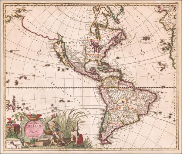 86-California as an Island and America Map By Carel Allard