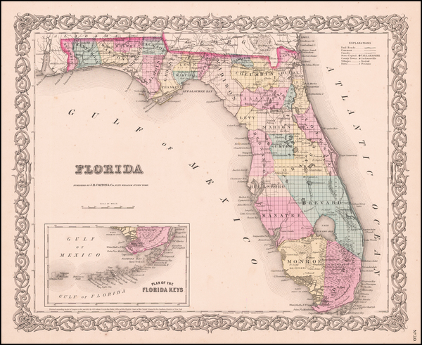 54-Florida Map By Joseph Hutchins Colton