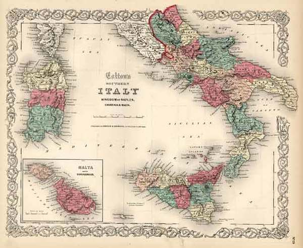 24-Europe, Italy, Mediterranean and Balearic Islands Map By Joseph Hutchins Colton