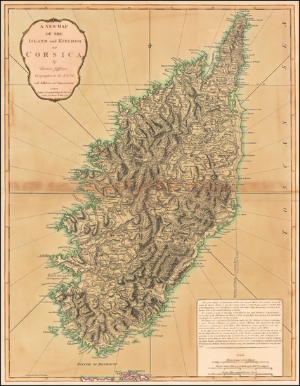 93-Corsica Map By Thomas Jefferys / Laurie & Whittle