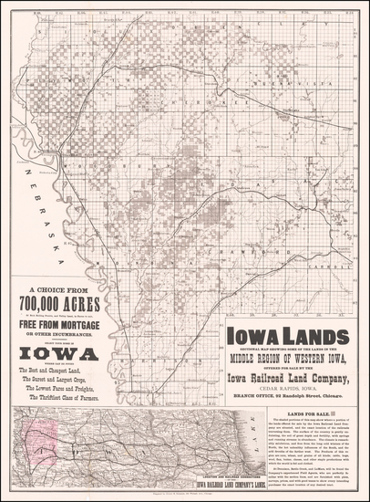 Iowa Map By Henry S. Stebbins