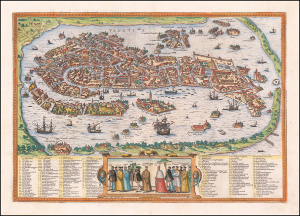 Venice Map By Georg Braun  &  Frans Hogenberg