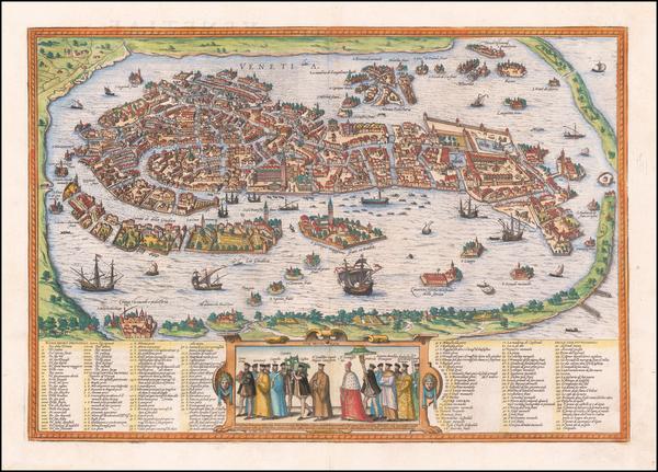 26-Venice Map By Georg Braun  &  Frans Hogenberg
