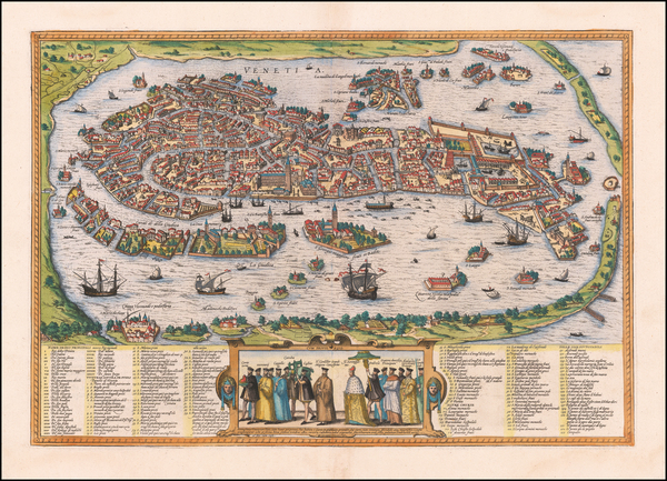 88-Venice Map By Georg Braun  &  Frans Hogenberg
