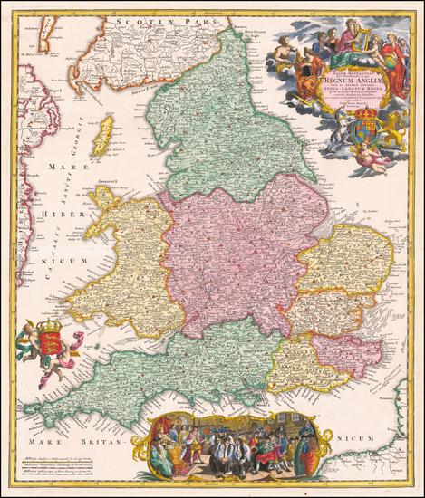 35-England Map By Johann Baptist Homann