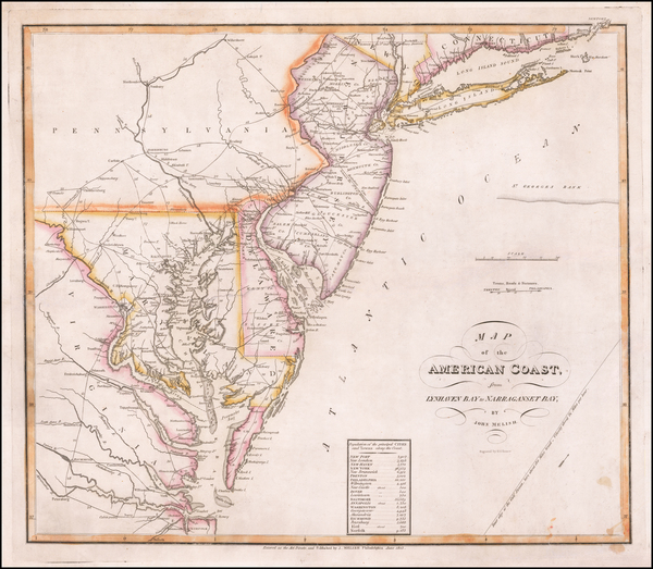 New York State, Mid-Atlantic, New Jersey, Pennsylvania, Maryland, Delaware, Southeast and Virginia Map By John Melish