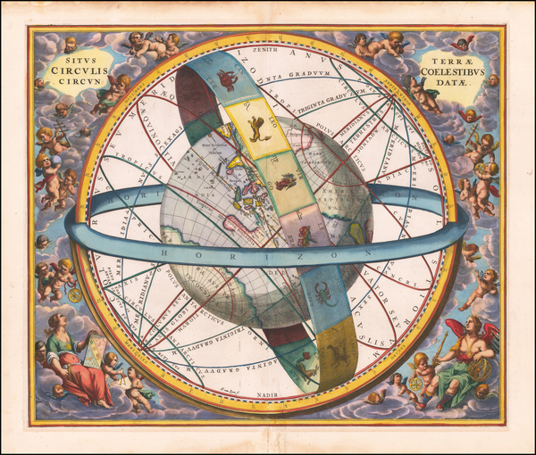 56-Pacific, Australia, Celestial Maps and California as an Island Map By Andreas Cellarius