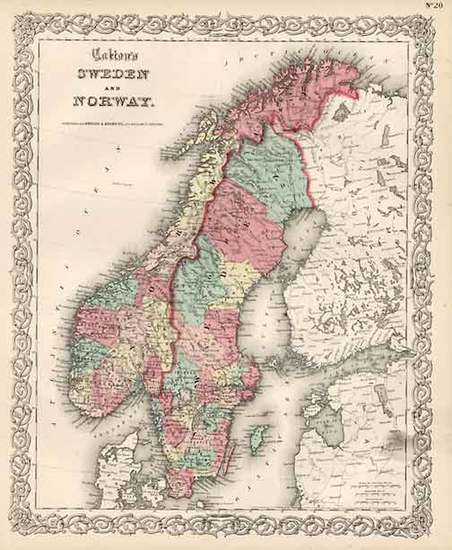 61-Europe and Scandinavia Map By Joseph Hutchins Colton
