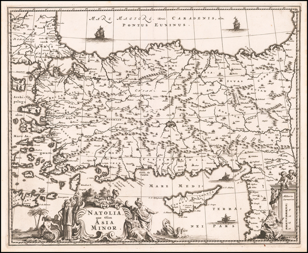 41-Turkey, Cyprus and Turkey & Asia Minor Map By John Ogilby