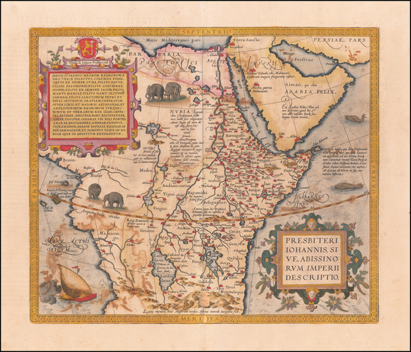 80-Africa, North Africa and East Africa Map By Abraham Ortelius