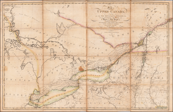 37-Vermont, New York State, Pennsylvania, Michigan and Canada Map By Prior & Dunning