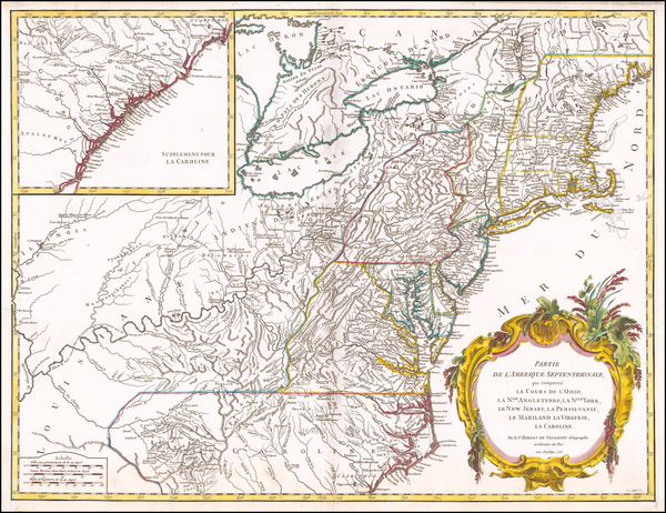 98-New England, New York State, Mid-Atlantic and Southeast Map By Didier Robert de Vaugondy