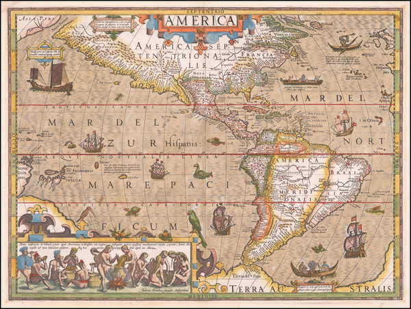 74-Western Hemisphere and America Map By Jodocus Hondius