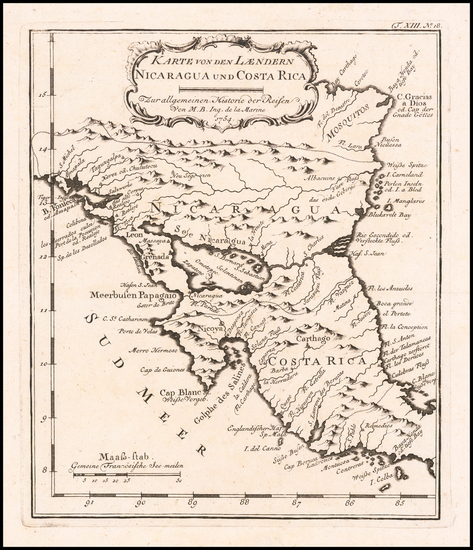 54-Central America Map By Jacques Nicolas Bellin