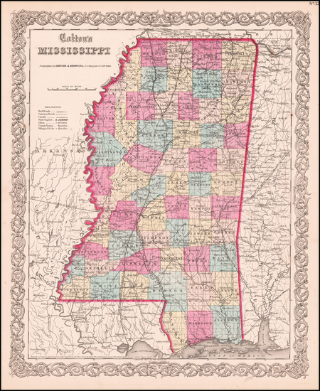 39-Mississippi Map By Joseph Hutchins Colton