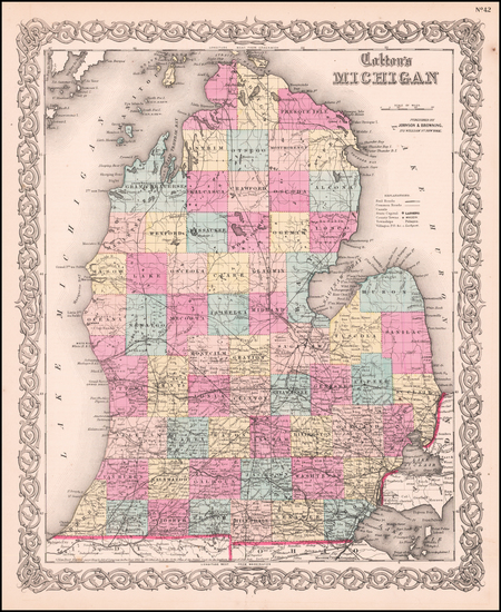 10-Michigan Map By Joseph Hutchins Colton
