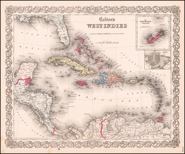 Caribbean, Central America and South America Map By Joseph Hutchins Colton