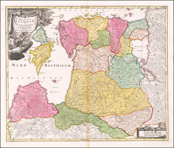 Baltic Countries Map By Johann Baptist Homann