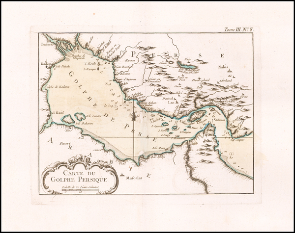 74-Middle East, Arabian Peninsula and Persia Map By Jacques Nicolas Bellin