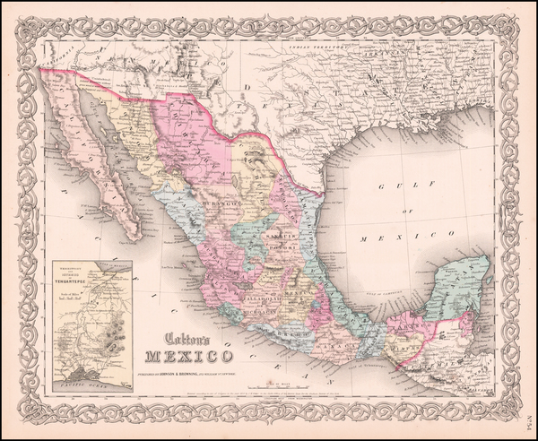 39-Mexico, Baja California and Central America Map By Joseph Hutchins Colton