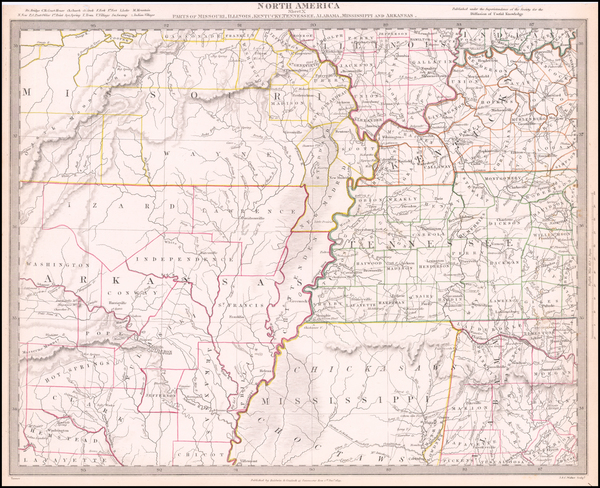 80-Mississippi, Arkansas, Kentucky, Tennessee and Missouri Map By SDUK