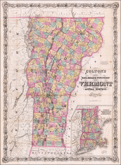 50-Vermont Map By G.W.  & C.B. Colton