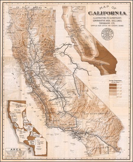 California Map By Southern Pacific Railroad Company