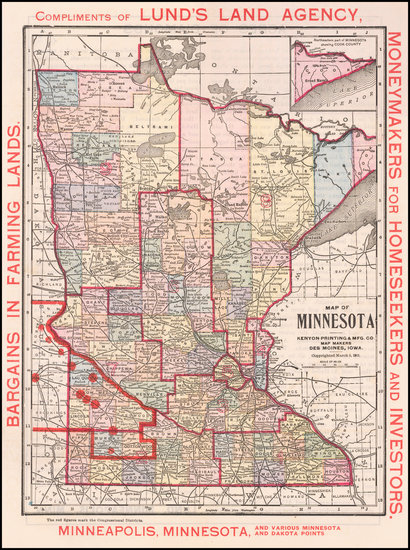 62-Minnesota Map By Kenyon Printing & Mfg Co.