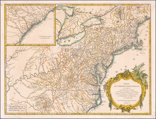 New England, New York State, Mid-Atlantic and Southeast Map By Didier Robert de Vaugondy