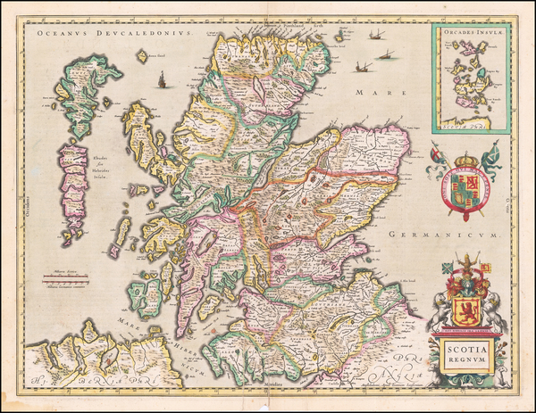 85-Scotland Map By Willem Janszoon Blaeu