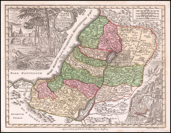 18-Holy Land Map By Matthaus Seutter