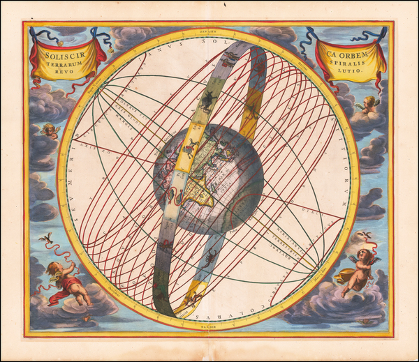 5-Eastern Hemisphere and Celestial Maps Map By Andreas Cellarius