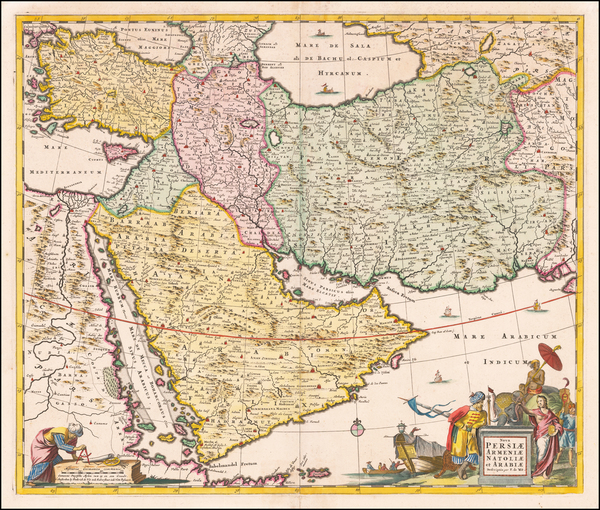 Turkey, Middle East, Arabian Peninsula and Persia Map By Frederick De Wit