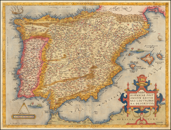 79-Spain and Portugal Map By Abraham Ortelius