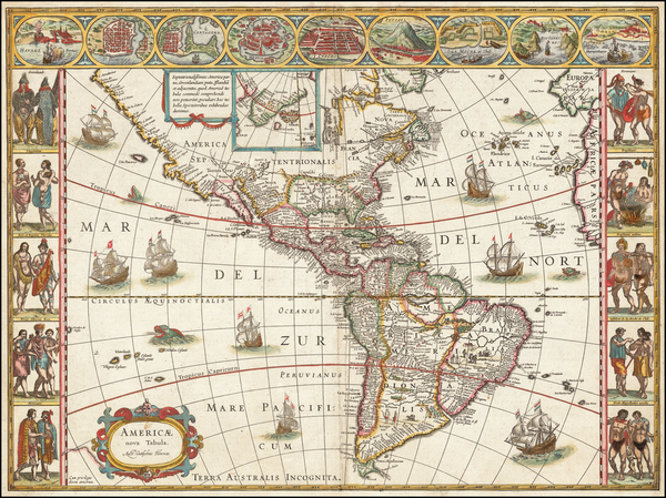 56-America Map By Willem Janszoon Blaeu