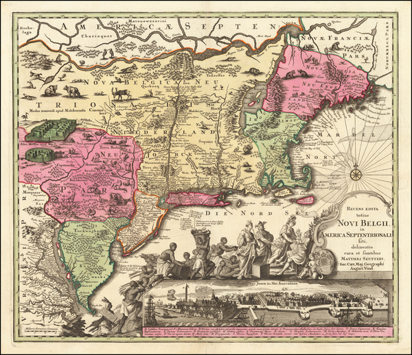 75-New England, New York State, Mid-Atlantic and Canada Map By Matthaus Seutter