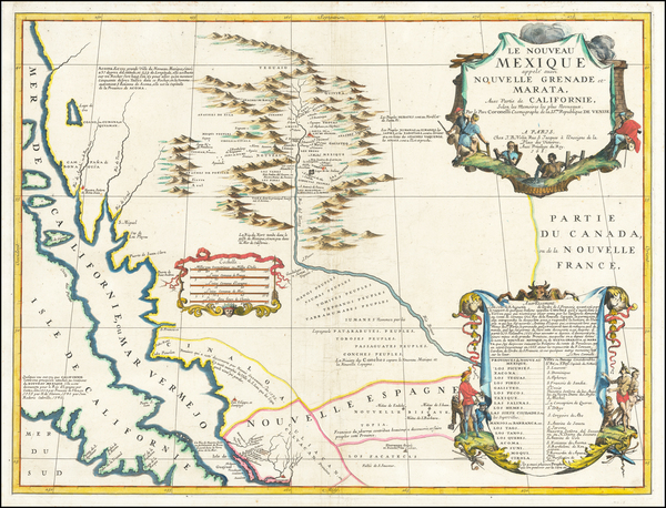 Texas, Southwest, Mexico and California Map By Vincenzo Maria Coronelli / Jean-Baptiste Nolin