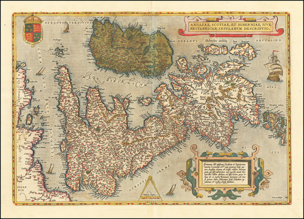 35-British Isles Map By Abraham Ortelius