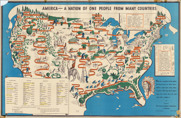 97-United States, Pictorial Maps and World War II Map By Emma Bourne  &  The Council Against I